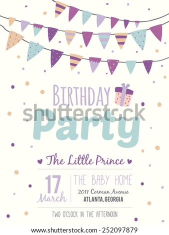 Unusual inspirational, romantic and motivational quotes invitation card. Stylish happy birthday poster in cute style with bright garlands and sparkles for boy. Template for print design. - stock vector
