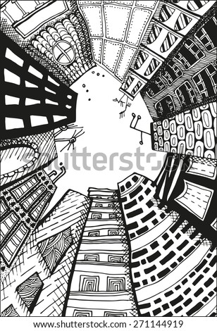 unusual perspective of the city, drawn sketch, vector illustration - stock vector