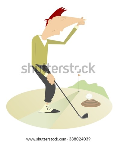 Unusual situation on the golf course. Golf ball hits into the dung and man holds his nose from odor nuisance  - stock vector