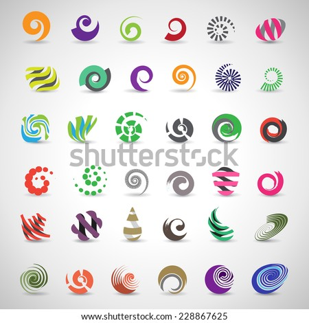Unusual Spiral Set - Isolated On Gray Background - Vector Illustration, Graphic Design Editable For Your Design      - stock vector