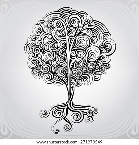 Unusual tree from an ornament - stock vector