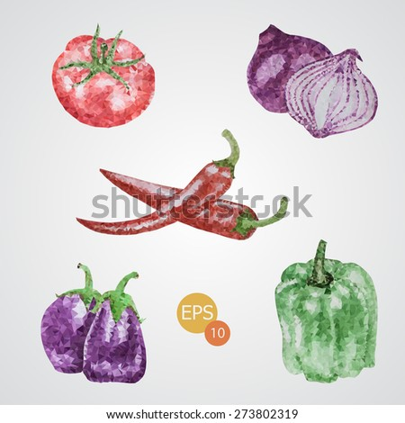 Unusual trendy poly style tomato, onion, pepper, chilli  isolated on background. Vector version - stock vector