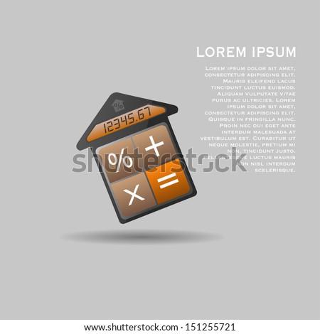Unusual vector mortgage calculator icon - stock vector