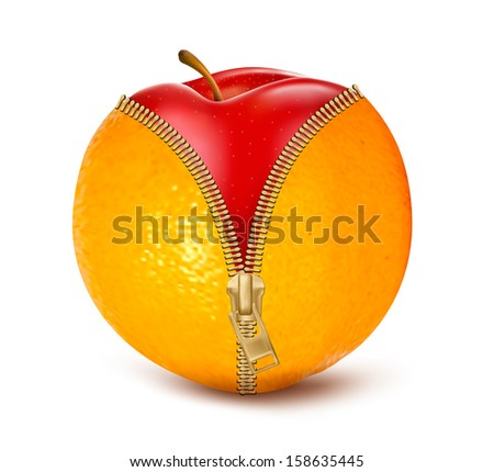 Unzipped orange with red apple. Fruit and diet against cellulite. Vector  - stock vector