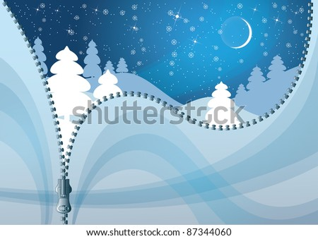Unzipped Winter background. Colorful Christmas background. - stock vector