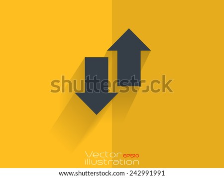 Up and down arrow icon on yellow background - stock vector