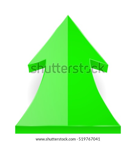 UP arrow. Green shiny 3d web icon. Vector illustration isolated on white background