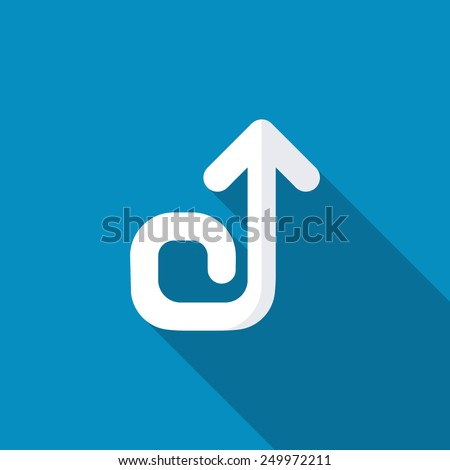Up counterclockwise straight arrow spiral icon. Modern design flat style icon with long shadow effect - stock vector