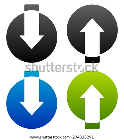 Up-down arrows cut in circles. - stock vector