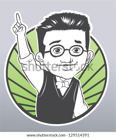 up hand student - stock vector