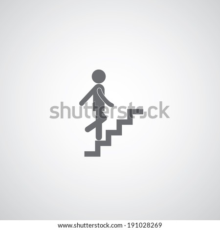 up staircase symbol on gray background  - stock vector