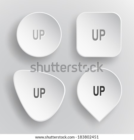 Up. White flat vector buttons on gray background. - stock vector