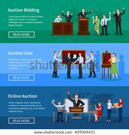 Upcoming online auctions bidding and sale information 3 flat horizontal banners webpage design abstract isolated vector illustration - stock vector