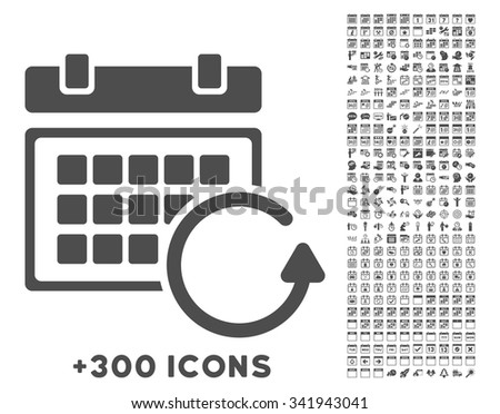 Update Calendar vector icon with additional 300 date and time management pictograms. Style is flat symbols, gray color, rounded angles, white background. - stock vector