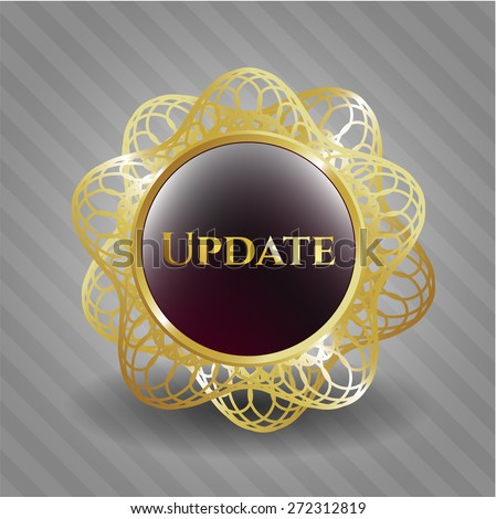 Update gold shiny badge - stock vector
