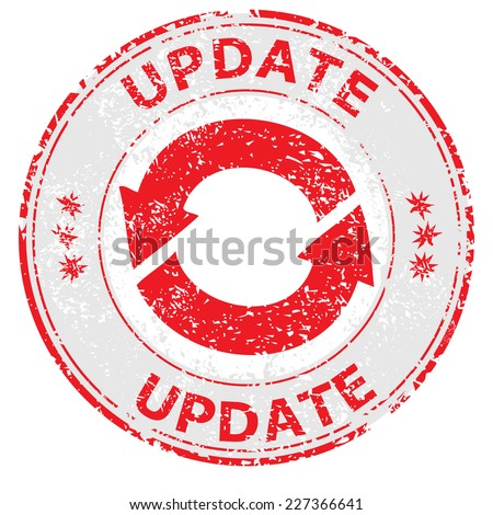 Update grunge rubber stamp on white, vector illustration  - stock vector