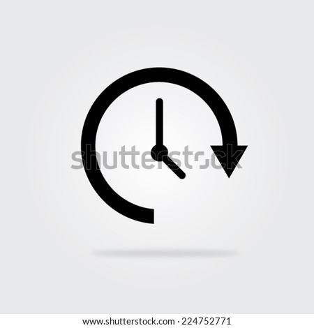 Update time icon with shadow. Vector illustration eps10. - stock vector