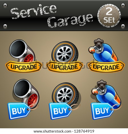 Upgrade and buy parts icons for race game-set 2 - stock vector