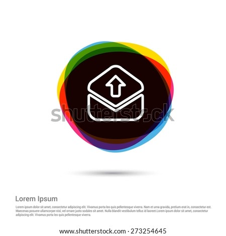 Upload And send email icon, White pictogram icon creative circle Multicolor background. Vector illustration. Flat icon design style - stock vector
