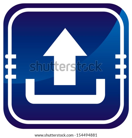 Upload blue glossy web icon - stock vector
