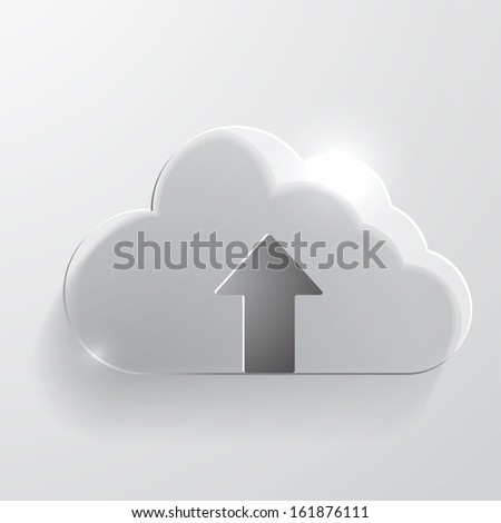 Upload cloud glass icon. - stock vector