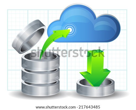 Upload Data to Cloud - Illustration - stock vector