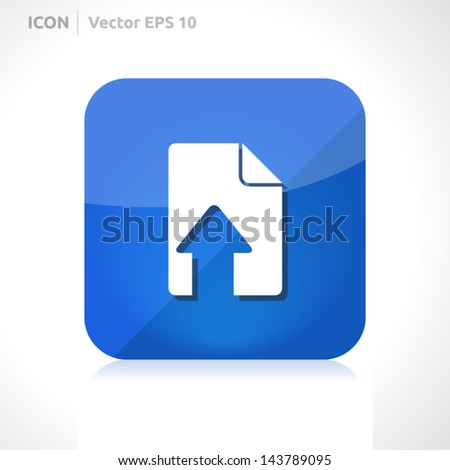 Upload file icon | vector design template | color blue  | icon set | abstract with symbol | - stock vector