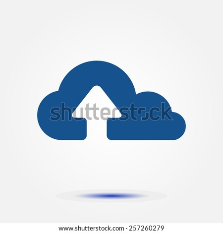 Upload from cloud icon. Upload button. Flat design style. - stock vector