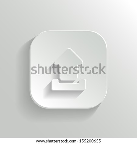 Upload icon - vector white app button with shadow - stock vector