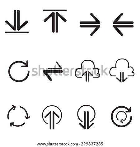 Upload sign icons. Upload button, arrow button, Load symbol, Circles and  refresh buttons. data transfer symbol illustration Vector - stock vector