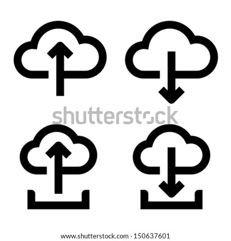 Upload to cloud, download from cloud, upload to cloud from hard drive, download from cloud to hard drive icons - stock vector