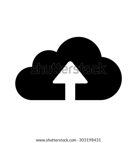 Upload to cloud storage flat icon for apps and websites - stock vector