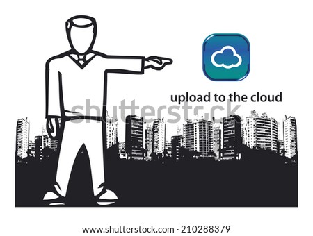 upload to the cloud - stock vector