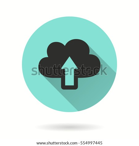Upload vector icon. Black illustration isolated on green background for graphic and web design.