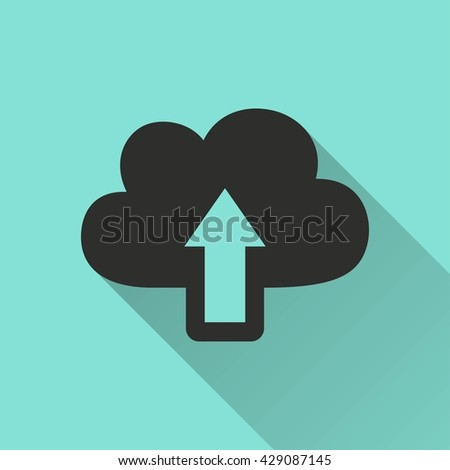 Upload vector icon with long shadow. Black illustration isolated on green background for graphic and web design.