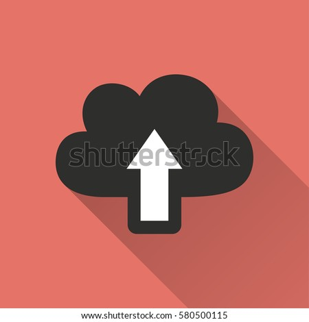 Upload vector icon with long shadow. Illustration isolated on red background for graphic and web design.