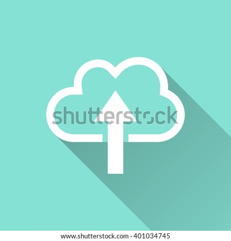 Upload   vector icon with long shadow. White illustration isolated on green background for graphic and web design.