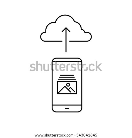uploading photography from smartphone to cloud storage picture sharing vector linear icon and infographic | illustrations of gear and equipment for photographers black isolated on white background - stock vector