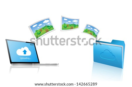 Uploading picture to the cloud folder. Cloud Computing Concept Background. - stock vector