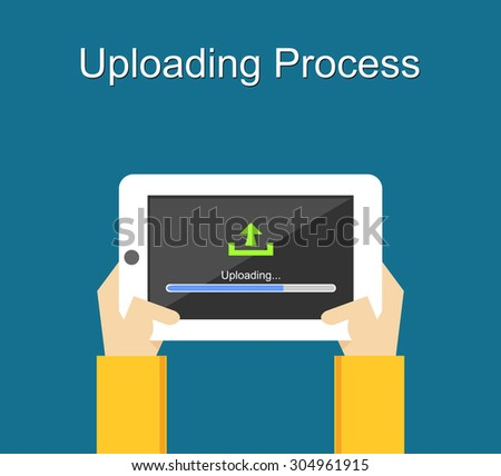Uploading process on screen of tablet concept illustration. Flat design. Uploading bar status.  - stock vector