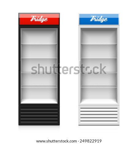 Upright glass door display fridge template. Vector. - stock vector