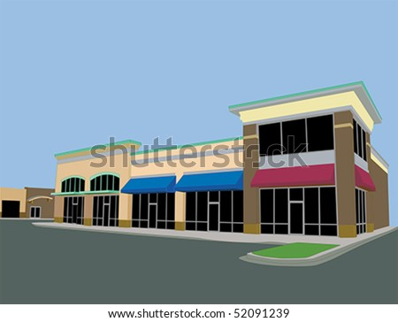 upscale commercial strip mall with beige tones and awnings - stock vector
