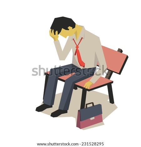 Upset businessman sitting on the bench alone. Business concept in failure, sad, lonely, bankruptcy or negative expression. - stock vector