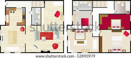 Upstairs and dwonstairs aerial view of the interior of a typical home - stock vector