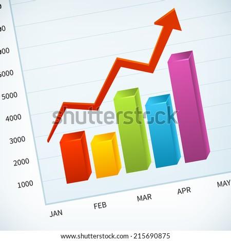 upward business sales chart vector background - stock vector