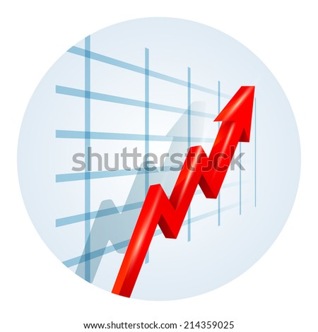 Upward trending red dimensional zigzag arrow on a business graph showing growth  improvement  success and development viewed at an oblique angle leading away from the viewer  vector illustration - stock vector