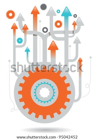 upwards cogs illustration eps vector - 3
