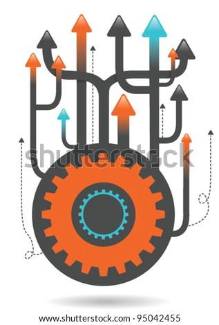 upwards cogs illustration eps vector - 1 - stock vector