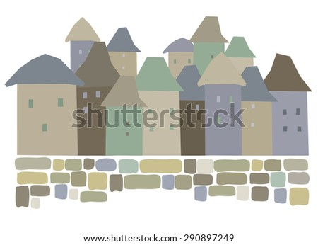 Urban abstract landscape, buildings with windows, Retro city, Vector Illustration - stock vector