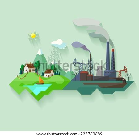 Urban and village landscape. - stock vector